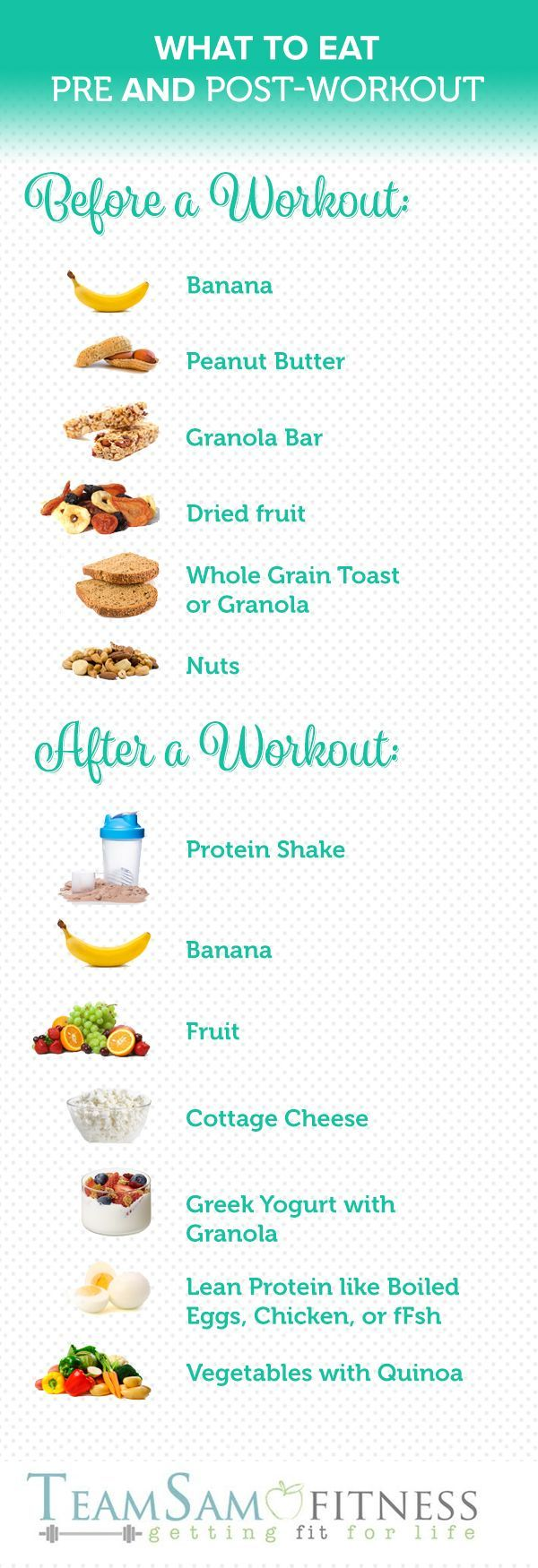 Are you fueling your body correctly for your workout? What to Eat Before & After a Workout www.teamsamfitnes…