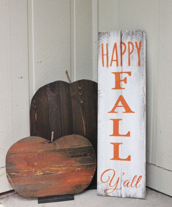 Happy fall Yall wood sign! Beautiful on the front porch or in your home! Check out this item in my Etsy shop www.etsy.com/…