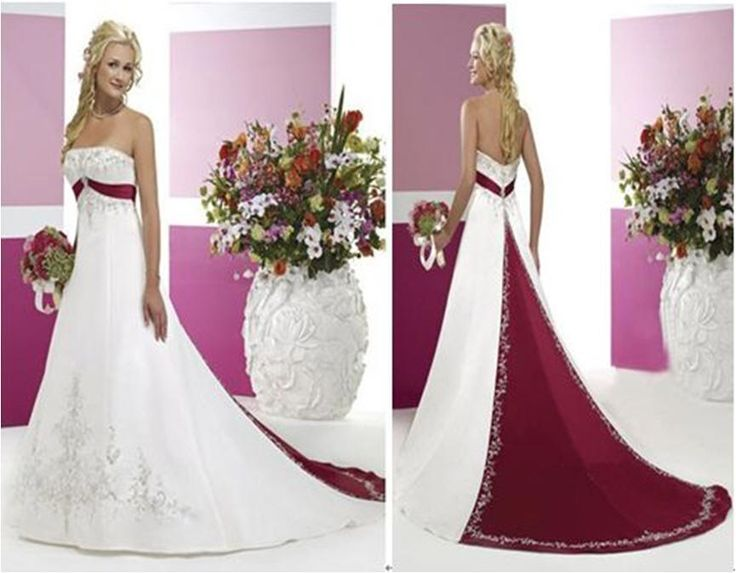 White And Merlot Wedding Dresses With Color- This Is
