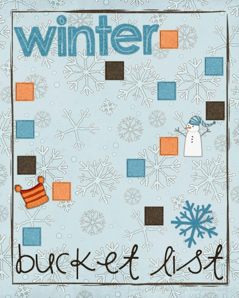 a fill it in yourself winter bucket list free printbale