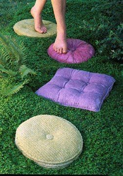Concrete pillow stepping stones- HOW TOO!!!  **Recycle your old pillow cushions by lathering them with petroleum jelly and