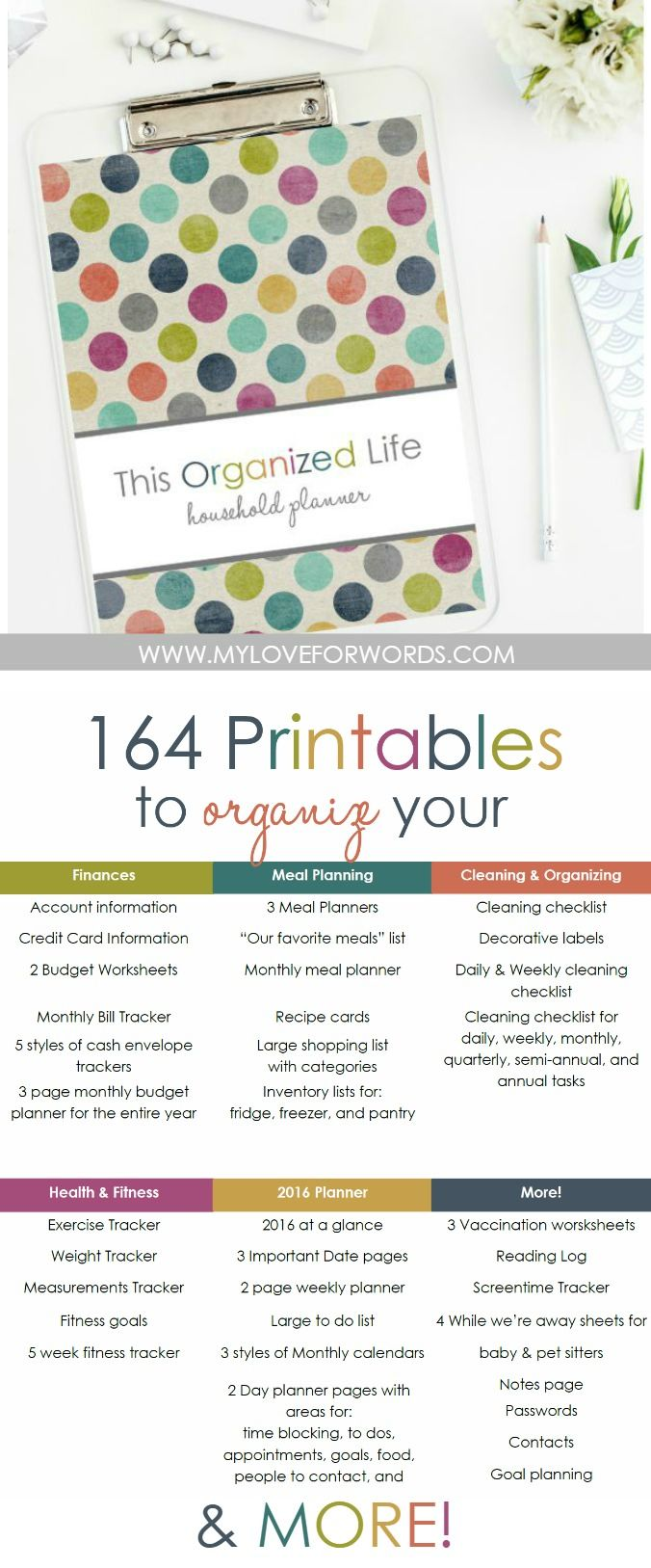 Need a little help getting your life organized? This printable collection is for…