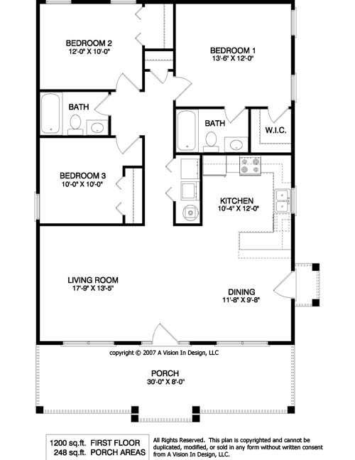 Simple Rectangular House Plans With 2 Bathrooms And Garage Porch At Front