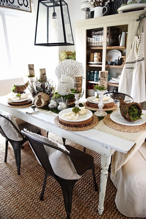 Rustic Natural Thanksgiving Table Farmhouse Chic How