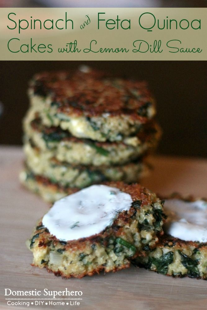 Spinach and Feta Quinoa Cakes with Lemon Dill Sauce – healthy, easy, and delicious! Perfect for vegetarians or meatless Monday!
