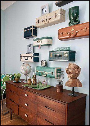 Suitcase shelves. Neutral w