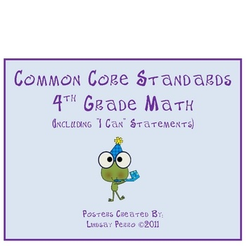 Two sets of 4th Grade Math Common Core Standard Posters for your classroom – to