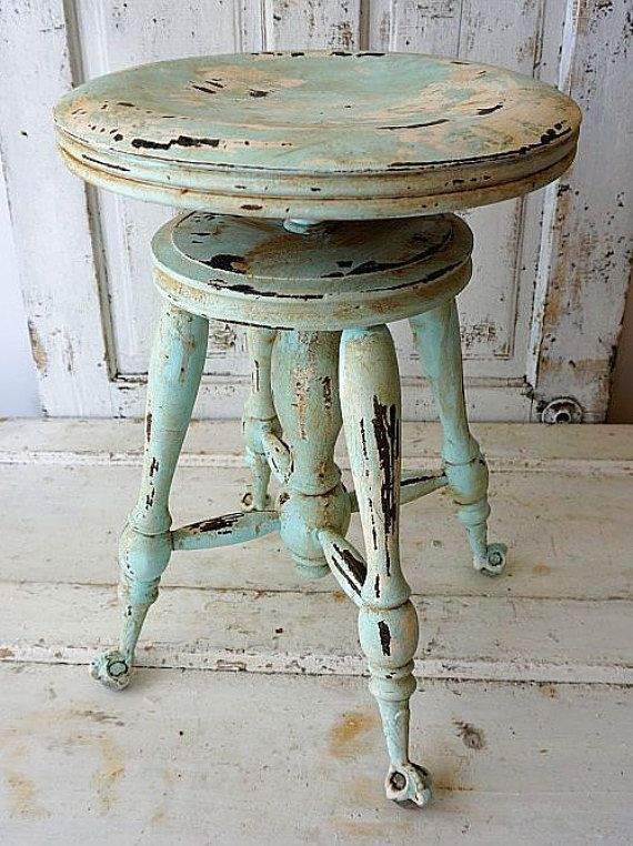 Painted Claw Foot Wood Piano Stool Distressed Shabby