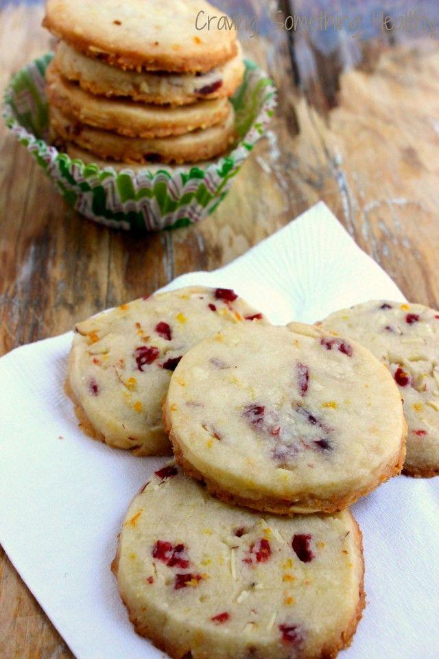 Cranberry Orange Almond Shortbread COokies|Craving Something Health