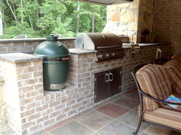 brick patio with outdoor kitchen brick outdoor kitchen with green egg smoker and stainless