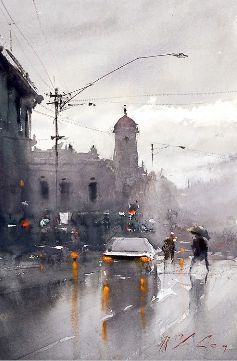 Watercolor painting by Joseph Zbukvic. Watercolor art inspiration. I love the pop of yellow orange in the lights, it really stands