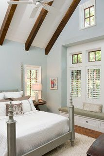 Ketchum Residence Traditional Bedroom Blue Walls Grey Bed White Duvet Lamp Dark Brun Side Table And Rug Benjamin Moore
