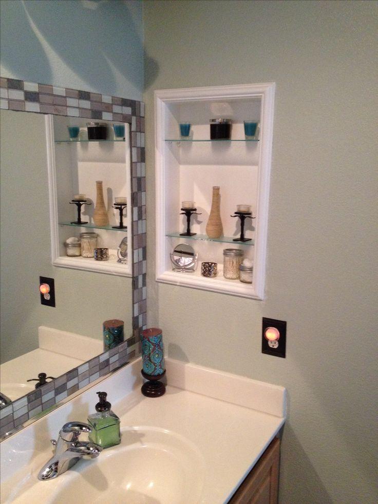 Framed Medicine Cabinet Amp Tile Around Standard Mirror