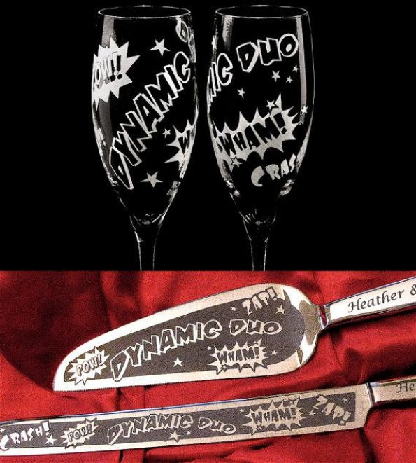 NEW Super Hero Wedding Set, Cake Server, Knife, Champagne Glasses, Engraved and Personalized on Etsy, $212.00: