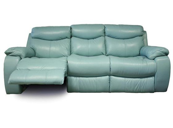 Kanes Furniture Delaney Aqua Power Reclining Sofa