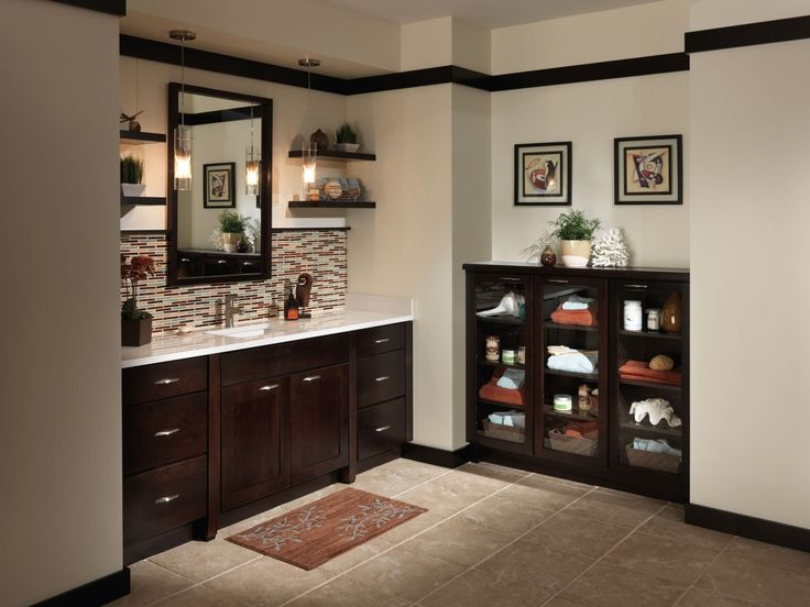 Bathroom, Dark Brown Bathroom Sink Cabinets With White
