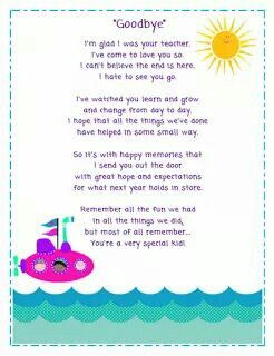 Goodbye Letter To Kids From Teacher End Of The Year Pinterest Teaching Poem And Graduation