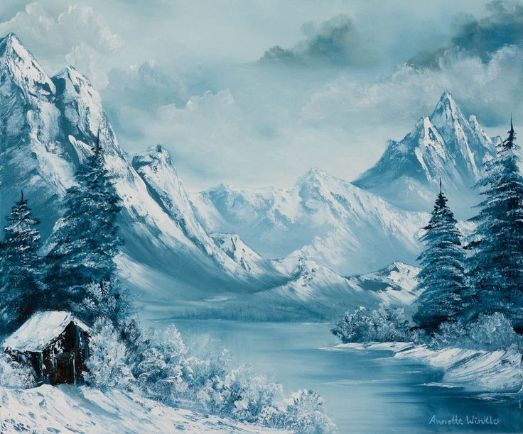 10065 Snowy Mountain With Cabin