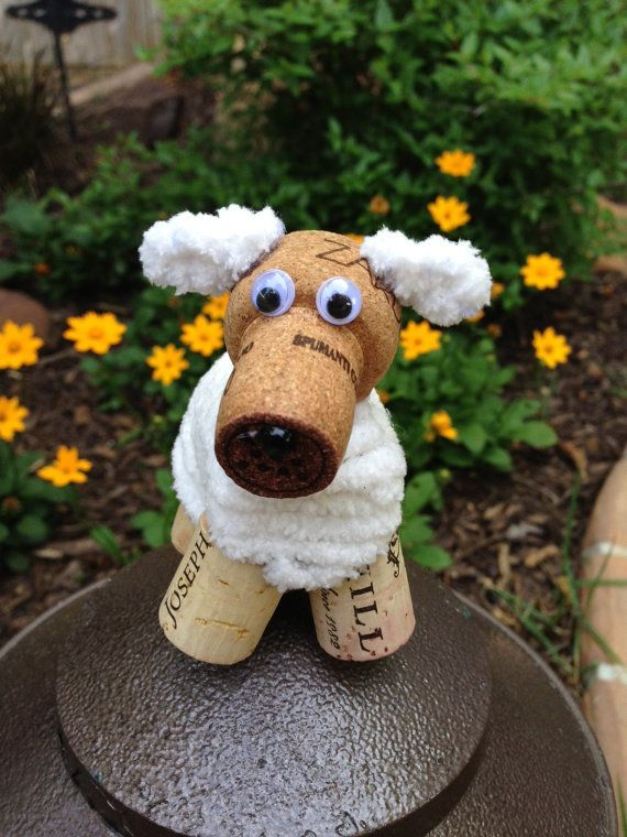 Fluffy White Puppy Dog Wine Cork Ornament Wine Cork