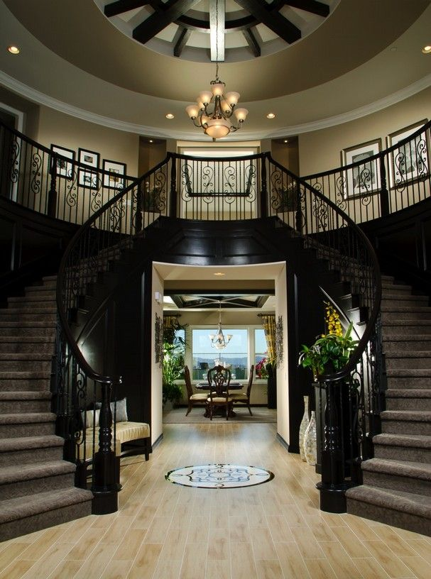 Double Staircases And A View To The Dining Make A Dramatic Entry My Future Home Pinterest