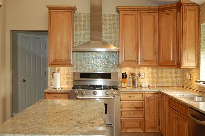 Maple cabinets with light granite countertops | Kitchen ... on Best Countertops For Maple Cabinets  id=78226
