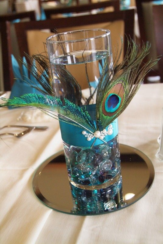 Peacock Centerpiece Maybe A Floating Candle In The Water