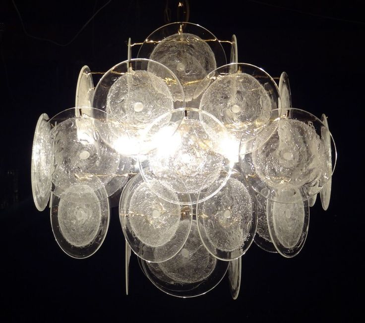 VISTOSI Murano Glass Disc Chandelier Retro Vintage Design