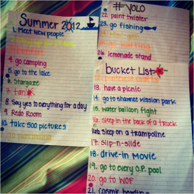 Summer Bucket Tumblr List
