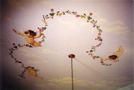 3 Cherubs Stenciled On Ceiling