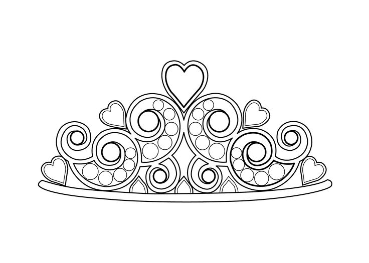 pretty diadem coloring page for girls printable free