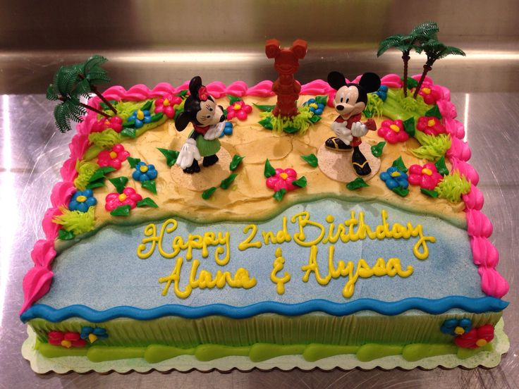 Mickey And Minnie Luau Party Cake Birthday Ideas
