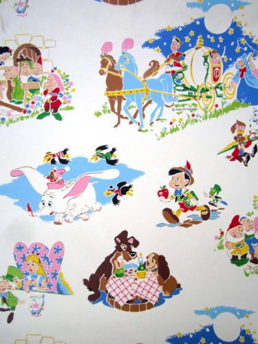 1950s Vtg WALT DISNEY PRODUCTIONS Wallpaper BIG ROLL