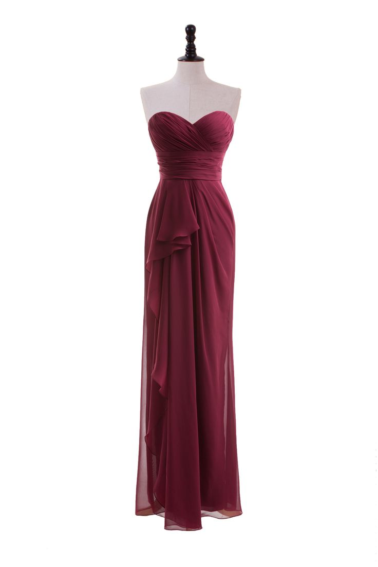 Sweetheart Chiffon Dress with Side-Draped Skirt
