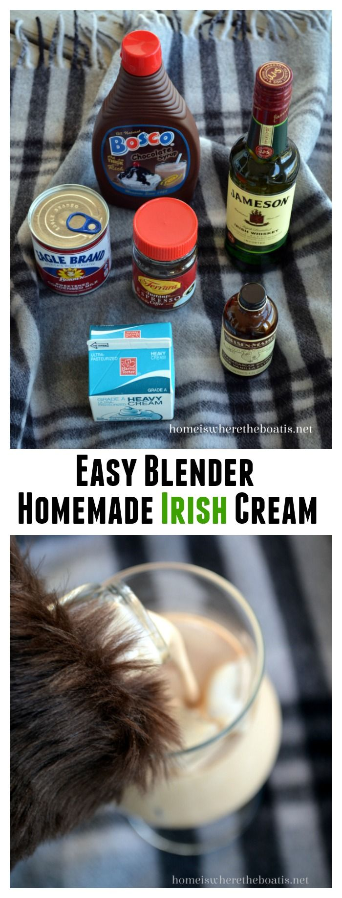 Homemade Irish Cream Liqueur! An easy blender recipe that's ready in 5 minutes. One sip and you'll never buy it again! | ©homeiswheretheboatis.net #cocktail #Irish #stpatricksday #recipe
