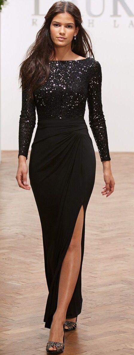 Lauren Ralph Lauren Long-Sleeve Sequin Gown – Dresses – Women – Macy's