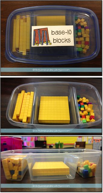 This is a great way to store Base Ten Blocks and make them accessible for students to use.  This idea is f