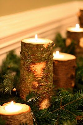 Use a dremel to empty the middle of a stump and fill it with wax, add some fir s