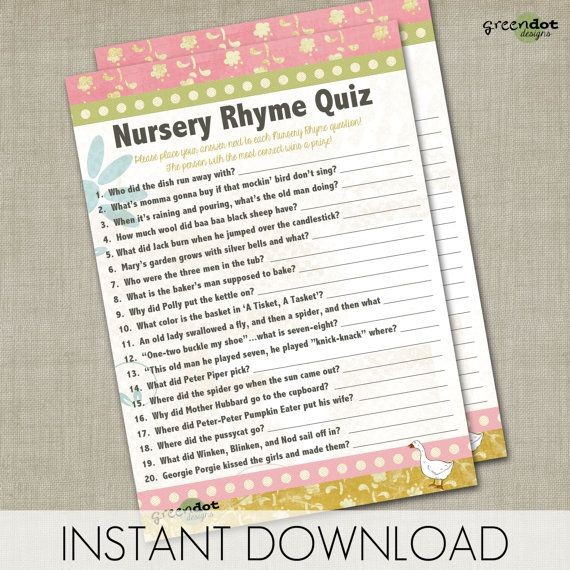 INSTANT DOWNLOAD nursery rhyme quiz, baby shower game, printable, game card, pin