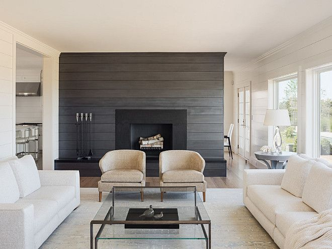 Living Room With Shiplap Wall Painted In A Charcoal Gray Color Sophie Metz Design Fireplaces