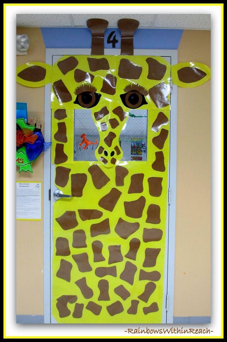 Jungle Animals As Door Decorations In Preschool