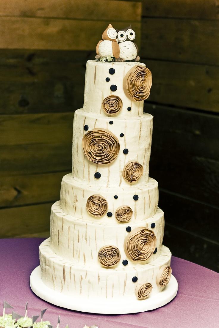 Birch Tree Wedding Cake With Owl Cake Topper Kathleen