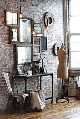 wall-o-mirrors  I love this wall….my husband thought I was nuts when I asked i