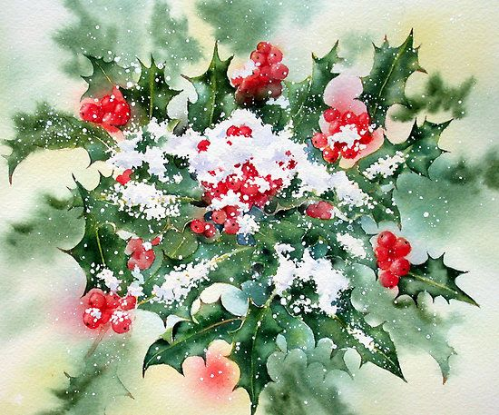 Holly And Snow By Ann Mortimer Art Watercolor Winter