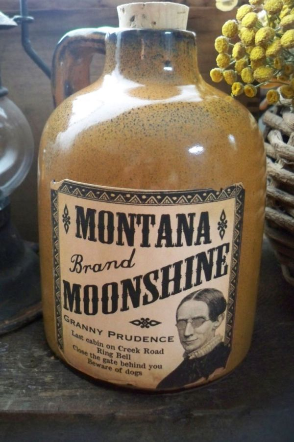 Montana Moonshine bottle jug whiskey bottle bar saloon old