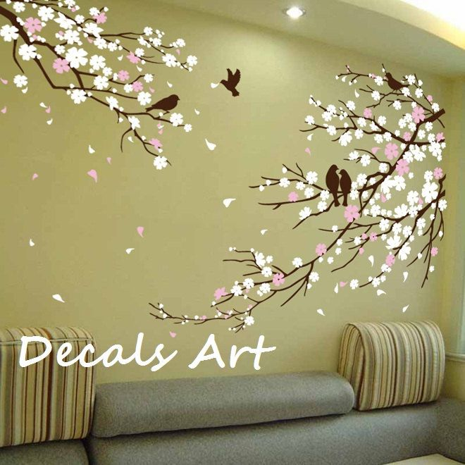 cherry blossom branches with birds vinyl wall sticker on wall stickers painting id=23234