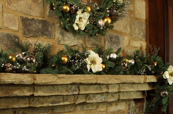 118 Best Images About Christmas Garland & Mantel Ideas On