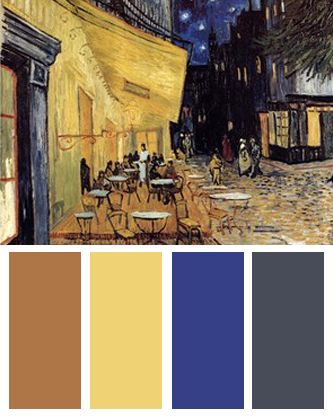 Color Palette Inspired By Vincent Van Goghs The Cafe