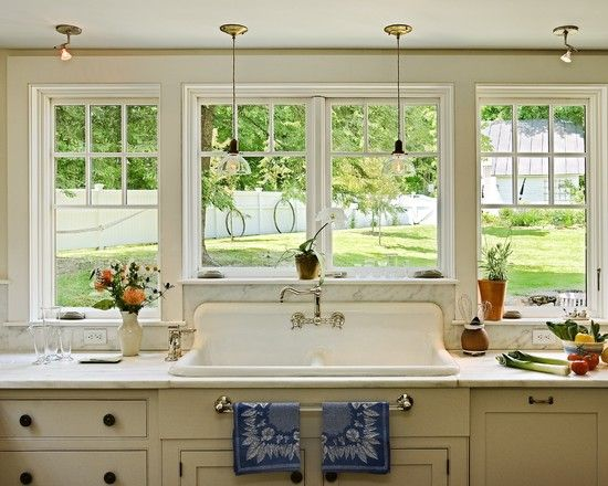 large window across kitchen no upper cabinets and a big farmhouse sink kitchens pinterest on farmhouse kitchen no upper cabinets id=71519