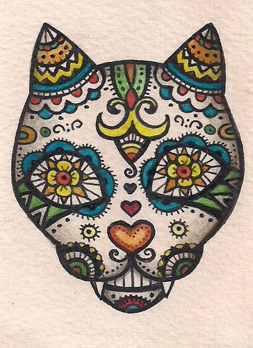 ACEO – Dia de Muertos Cat (Day of the Dead) Folk Art – Original Art