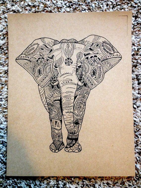 Bohemian Elephant Print On Cardstock 85 By 11 Cartoon